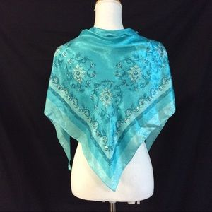 New. Blue paisley satin scarf Triangle shape scarf